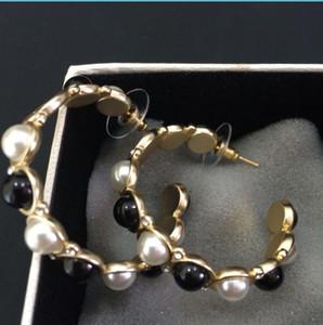 Big cerceau rond or boucle d'oreille de qualité supérieure plaqué blanc et perle noire boucles d'oreilles femmes bijoux de mariage avec le sac de flanelle