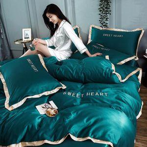 Home Textile borda dourada plana cama de seda set bordados cama conjunto duvet folha de rosto cetim ou equipada cama king folha rainha
