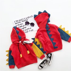 Tonytaobaby Winter New Boys and Girls Children's Clothes Cute Boys and Girls Color Manual Dinosaur Hooded Pullover Sweater