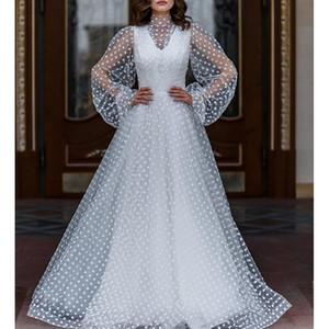Ordifree Beyaz Polka Dot Maxi Parti Elbise sayesinde 2020 Yaz Kadınlar Uzun Tül Elbise Uzun Kollu bakın