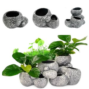 Shelter Water Plant Ornament Rocha cerâmica aquário Pedra Bonsai Pot Fish Tank Pedra Decoração Peixe Breeder Marbles decorativa