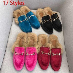 Classique Femmes Half authentique peau de vache doux fond plat en métal boucle de cheveux Chaussons Designers chaussures femme laine chaude pantoufles femmes
