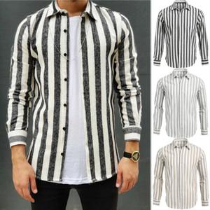 Uomo Casual Camicia slim fit a manica lunga formali magliette a righe