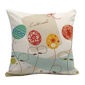 Venta al por mayor de una cara de impresión 45 * 45cm Pascua Funda de almohada huevo del conejito de la decoración del hogar del sofá almohada personalizada almohada cubierta DH0828 T03
