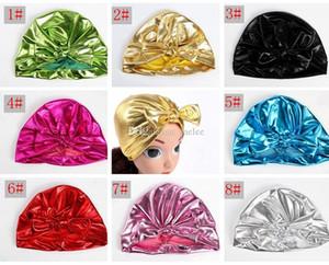 INS Bebek Altın Şapka Bunny Kulak Kapakları Avrupa Tarzı Türban Düğüm Kafası yaldız Sarar Şapka 8 Renkler altın damga Hindistan Şapka Çoc ...