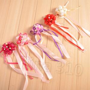 Mariage imitation poignet fleur de demoiselle d'honneur Soeurs Poignet Corsage Décoration de mariée bal Bracelet fleur main T2I5393