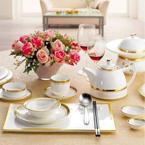 الترف الملكي باكستان العربية التركية مطعم الفندق حفل زفاف الخزف الأبيض الذهب السيراميك انعقدت أواني الطعام مجموعات العشاء