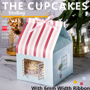 StoBag 5pcs Christmas House Box With Window Muffin Cup Cake Box Chocolate Biscuit Nougat Packaging Baby Birthday Party Gift