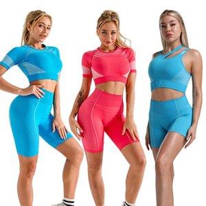 2pcs Women Short Sleeve Yoga Set Vital Seamless Sport Suit Bra Gym Clothes Fitness Crop Top Shirt High Waist Shorts Sportswear