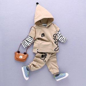 Boys Clothing Sets Cotton Fashion Cartoon Pattern Hoodies+Striped T-shirt+Pants 3Pcs Suit Spring Autumn Kids Sets Baby Clothes