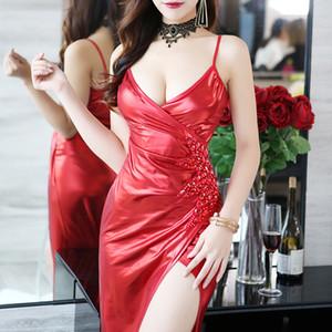 Les modèles d'explosion de style européen et américain sexy top tube PU robe fendue en cuir jupe noire