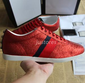 2019 TOP Люди Женщины Дизайнер обуви Red Bambi Блеск Low-Top Sneaker Леди Люкс обувь Мужская повседневная обувь с коробкой