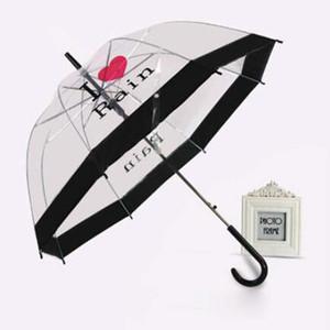 Langstieligen regenschirme frau outdoor artikel beliebte schnurrbart druck transparent regenschirm für dame geschenk viele arten