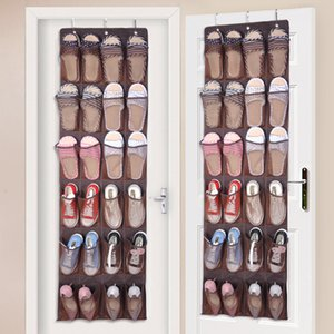24 Cloth Nylon Pockets Behind Door Shoe Rack Hanging Shoes Storage Rack Free Nail Shoe Holder Organizer Space Save with 3 Hooks