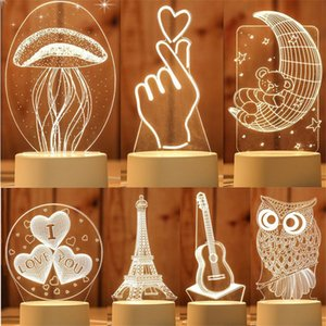 LED 3D lampe Creative 3D Night Lights Nouveauté Illusion Illusion lampe Night 3D Lampe de table pour la maison en gros décoratifs