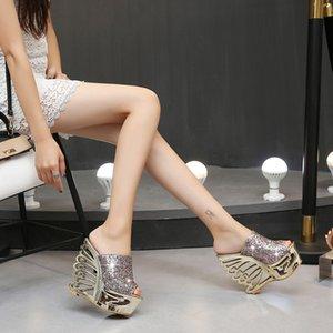 Sandali con zeppa di lusso firmati sexy scarpe da sposa con paillettes ultra sexy tacchi alti 15 cm colore argento argento taglia 35-38