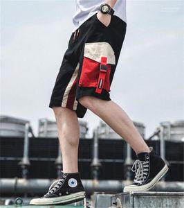 Kontrast Farbe Mens Short Cargo Pants Mode lose Tunnelzug knielangen Mens Shorts Sommer