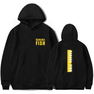 Muz Balık anime Baskı Hoodie Erkek / Bayan popüler Harajuku Casual Sıcak Satış Muz Balık Kapüşonlular yumuşak sweatshirt