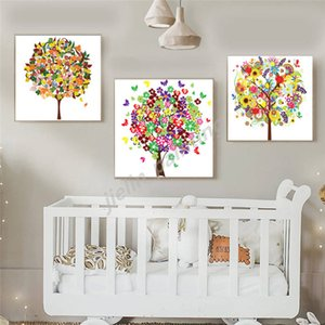 Colorful beautiful Tree Abstract Canvas Poster Minimalist Art Painting all Picture Print Living Room Bedroom Decoration