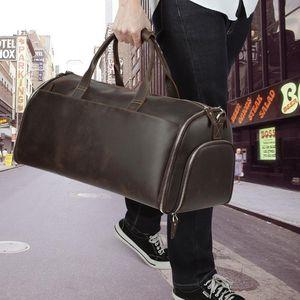 JOYIR Men Genuine Leather Travel Bag Travel Tote Big Weekend Bag Man Duffle Suitcase Vintage Large Capacity Luggage Male