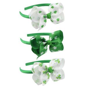 Clover Imprimé Hair Bow Hoop cheveux pour les filles ruban gros-grain à la main vert blanc jour de St.Patrick Accessoires cheveux
