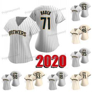 Bayan 2020 Sezon 53 Woodruff Jersey 35 Brent Suter 46 Corey Knebel 58 Alex Claudio 71 Josh Hader Beyzbol Formaları