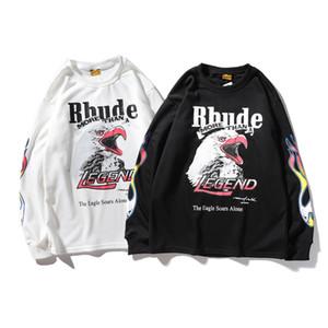 2019 mens maniche lunghe Rhude firmati e donne maglione di marca marea Europa e in America definire congiuntamente LA Los Angeles Fuoco Eagles spugna rotonda