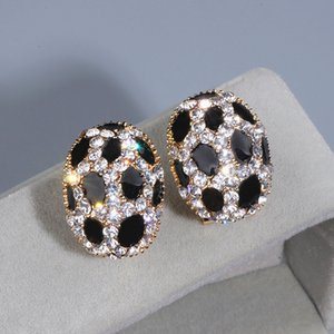 Trendy Crystal Ear Stud Earrings for Women Girls Gold Color Charm Rhinestone Leopard Print Stud Earring Wholesale WX084
