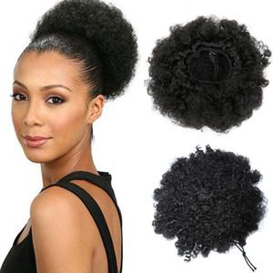 Estilo caliente Afro Corto Rizado Ponytail Bun pelo humano pelo virginal Chignon Hairpiece clip para las mujeres negras
