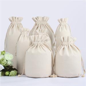 10Pcs Cotton Storage Canvas Bags Drawstring Bag Food Bottle Pouch Bag Home Storages Wedding Birthday Organizer wine package bag Custom Logo