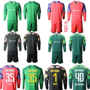 Personalizado Dortmund Goleiro 40.OELSCHLAGEL 1.BURKI 35.HITZ Crianças Football Kits manga comprida Juventude júnior de Futebol camisa de futebol