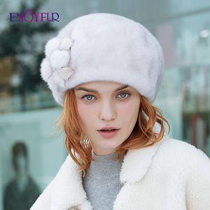 ENJOYFUR Frauen ganzen Winter Hüte Mützen echte warme echte Pelzmützen mit Blume neuen Marke weiblicher Hut
