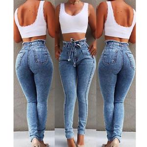 Femmes Designer Jeans taille haute Burr Jeans Casual Pants Denim avec ceinture Braguette à glissière mode Crayon