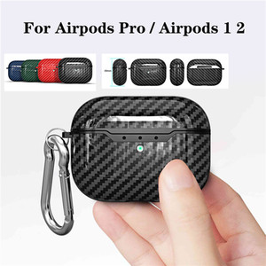 Carbon Fiber Earphone Case For Airpods Pro Case Fashion Cover For Apple AirPods Pro 3 2 1 Headphone Earpods Earbuds Hook Charging Box