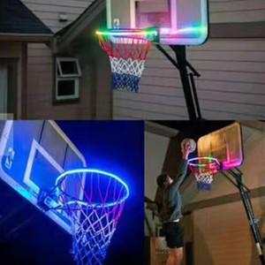 LED colorato Canestro da pallacanestro della luce solare di ricarica Basket Basket Hoop Rim giocare di notte Shooting Accessori Allegato B1