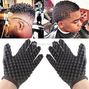 Gants bouclés Curls Coil magie outil d'onde Barber Gants Brosse à cheveux éponge Soins des cheveux masseur de tête A117