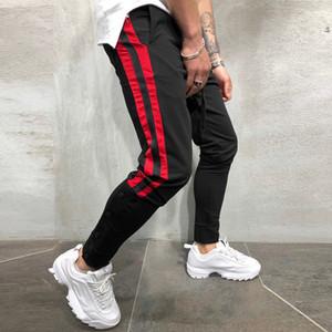 Calças dos homens Mens Hare calça listrada Mens Calça de Jogging Corda Tether Cor Pés Matching Calças Streetwear calças Asiático Tamanho