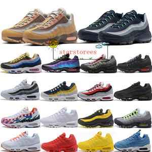 95 OG Almofada Designer Chaussure 95s Orbit Amarelo Bred do Aqua Neon Triplo Preto Mulheres Homens sapatilhas Running Shoes