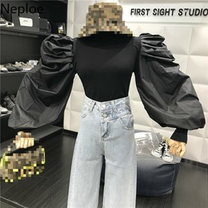 Neploe Design Slim Fit Bottom Sweater Fake Two Piece Blusas Women O Neck Puff Long Sleeve Lace Patchwork Blouse Autumn 47046