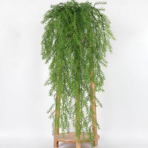 105cm real toque de parede Artificial Hanging Planta artificial Pine Needles Decoração Varanda Decorattion Flower Basket
