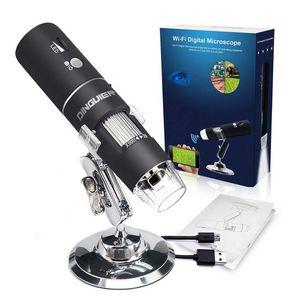 2020 digital sem fio WiFi USB Microscópio 50X Para 1000X Ampliação Mini câmera de mão endoscópio Inspeção com 8 LEDs com suporte de metal