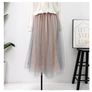 Pleated Skirt 2020 New Summer Korean Women Tulle Skirts High Waist Slim Patchwork Female Tutu Skirts Double Layers Faldas Saias
