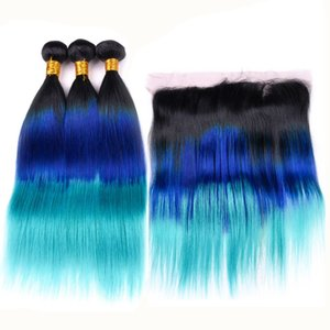 # 1B / Blue / Teal Ombre Человеческие волосы 3 пучка с прямыми прямыми Черно-сине-бирюзовые 3Tone Ombre Перуанские плетения волос с кружевом 13x4