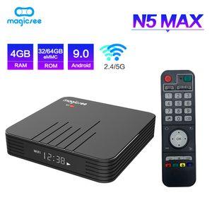 Н5 Magicsee Макс встроенный S905X3 9.0 Андроид ТВ бокс в 4G 32Г/64г ПЗУ 2,45 г двойной WiFi Bluetooth4.1 умная коробка 8К телеприставки