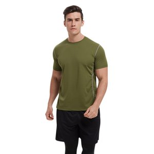 Men Casual Short Sleeve Breathable Bottoming Shirt Round Collar T-shirt Solid Color Tops Pro