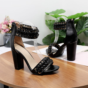 YIHONGMEIQI Summer women's high-heeled shoes, fashionable woven design, short heeel sandals, zipper and large PU leather beques