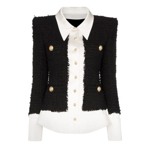 ALTA QUALITA '2020 più nuovo modo progettista rivestimento delle donne Leone Bottoni raso misto lana patchwork tweed Jacket