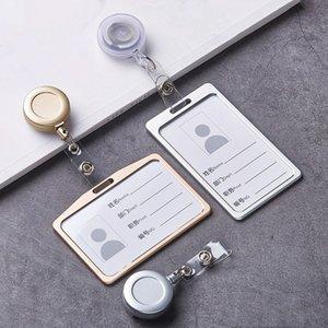 Eğitim Ofisi ABS Geri çekilebilir Rozet Reel Çekme Kimlik Kartı ile 1 Set Moda lüks Alüminyum Alaşım id kart yuvasını Malzemeleri