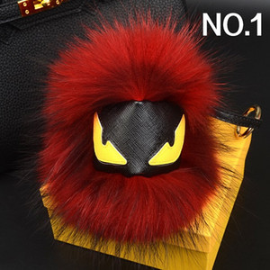 Fashion luxury designer cute lovely little moster hand made real fur leather handbag charms car keychains