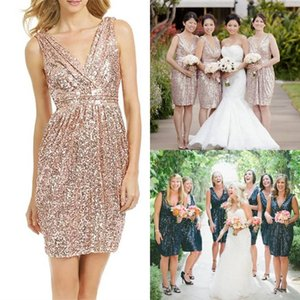 Short Bridesmaid Dresses Rose Gold Sequin Wedding Party Dress V Neck Knee Length Maid of Honor Dress Low Back Wedding Cocktail Party Dress